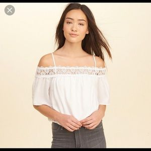 Hollister Juniors off the shoulder crochet blouse